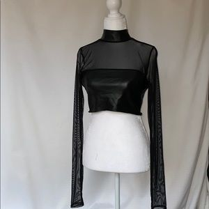 Necessary Clothing Faux Leather Mesh Crop Top NWT